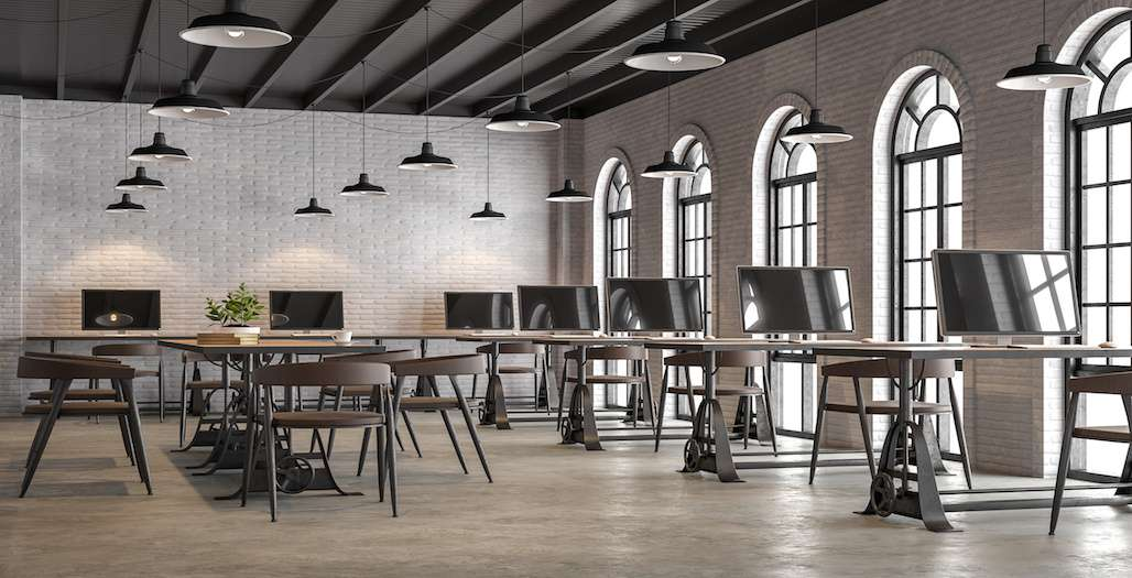 Industrial loft style office with arch shape window 3d render,There are white brick wall,polished concrete floor and black wood ceiling.Furnished with dark brown leather and black steel furniture.